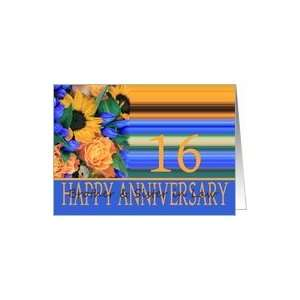 16th Anniversary for Brother & Sister in Law, Sunflower Bouquet Card