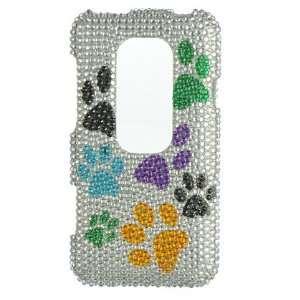 DOG PAWS Hard Plastic Rhinestone Bling Case for HTC Evo 3D