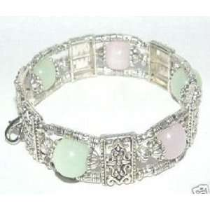 Fashion Jewelry ~ Green and Pink Jade Beads Silvertone Bracelet