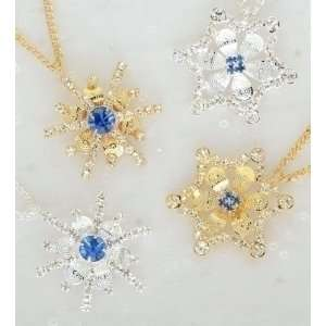 Christmas Jewelry Gold & Silver Crystal Snowflake Pins