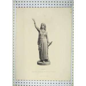 Antique Print Statue Judith Engraving Stodart Lady Home