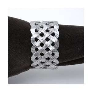 Objet Matte Platinum Braid Napkin Rings, Set/4