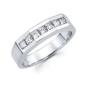 White Gold Mens Diamond Wedding Ring Band 1.0 ct (G H, SI1) Jewelry