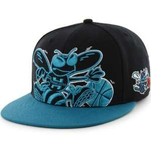Hornets NBA 47 Brand Two Tone Blackout Colossal MVP Snap Back Hat