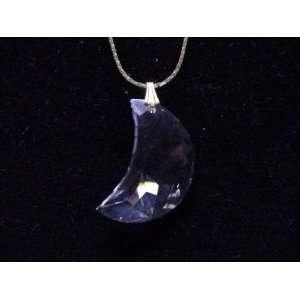 Aurora Borealis Crystal Half Moon Pendant Necklace   Genuine Swarovski