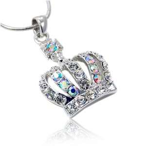 Silver Crystal Crown Pendant Necklace Fashion Jewelry