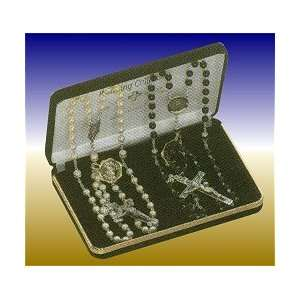 Faux Pearl And Black Glass Bead Wedding Rosary Set