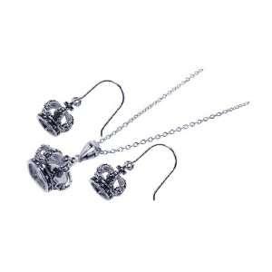 Free Sterling Silver Pendant & Earring Sets Black Crown Set Jewelry