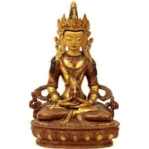 Amitayus   Buddha of Long Life   Copper Sculpture Gilded with 24 Karat