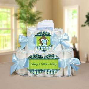 Boy Puppy Dog   2 Tier Personalized Square   Baby Shower
