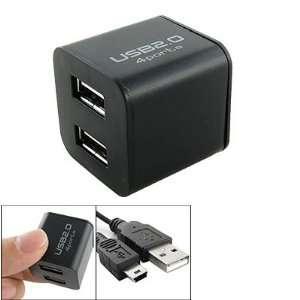 USB 2.0 Self Power 4 Port Cube Hub Black for Laptop PC