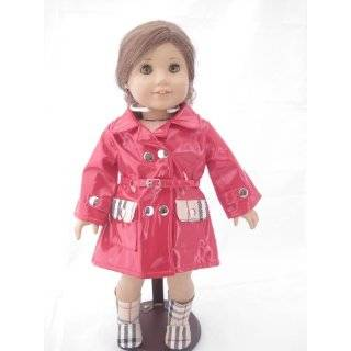Red Designer Rain Coat and Matching Boots for American Girl Dolls and