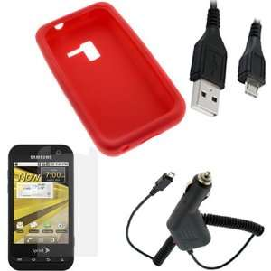 GTMax 4pcs Red Soft Skin Rubber Silicone Case + Clear LCD