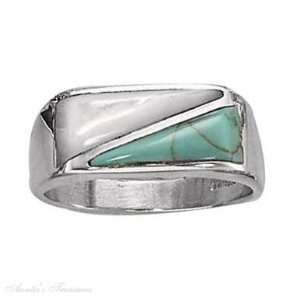 Silver Mens Turquoise Mother Of Pearl Triangular Stone Ring Size 10