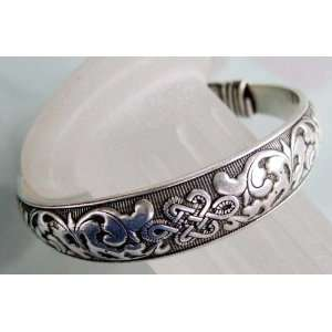 Tibetan Silver Everlasting Love Knot Bangle Bracelet