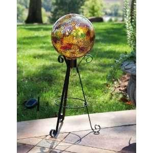 Tall Solar Black Metal Gazing Ball Stand Patio, Lawn