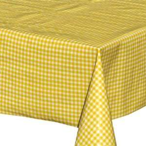 Classic Check Oilcloth Table Cloth   yellow (48 x 48)