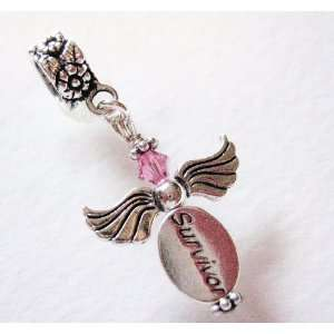 Silver, Breast Cancer, Survivor Angel,swarovski, Charm Dangle Bead