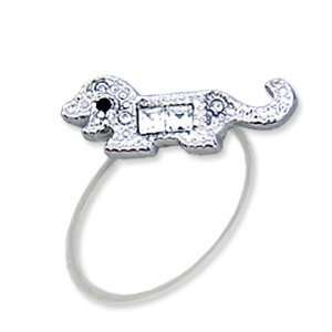 Toe Ring with Dog   Rhodium Plated Brass with Clear Swarovski Crystals