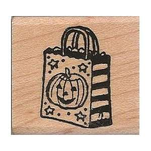 Halloween Trick or Treat Wood Mounted Rubber Stamp (A7537