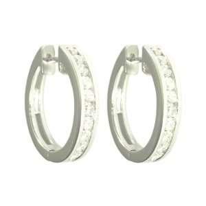 10k White Gold Channel Set Diamond Hoop Earrings (1 cttw, J K Color