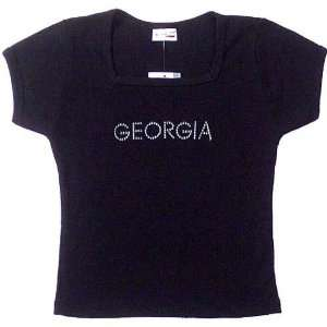Neck Baby Doll T shirt W/Silver GEORGIA Logo