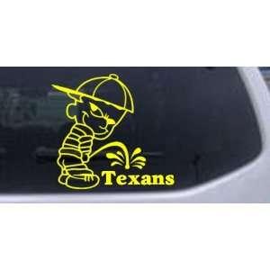 Yellow 16in X 15.2in    Pee on Texans Car Window Wall Laptop Decal