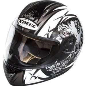 Xpeed Symbol XP507 Sports Bike Racing Motorcycle Helmet   White/Silver