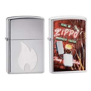 Zippo Lighter Set   Zippo Flame Engraved and Neon Sign