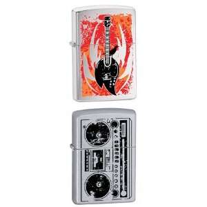 Zippo Lighter Set   Flaming Guitar, and Beatbox Radio Logo