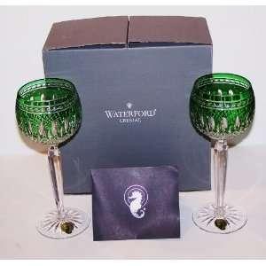Clarendon Emerald Green Pair of Wine Hock Glasses