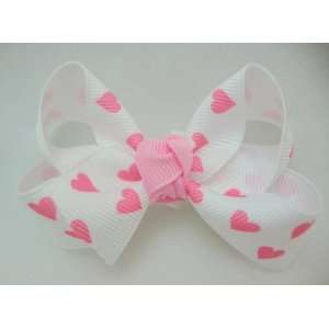 White Valentines Hearts Girls Hair Bow