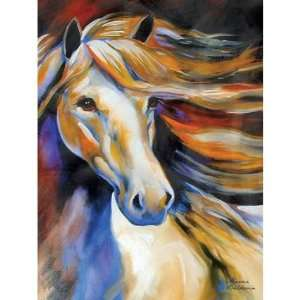 White Horse with Mane Flowing in Wind Wall Art Painting