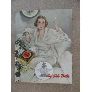 Lucky Strike Cigarettes, Vintage 30s full page print ad (woman
