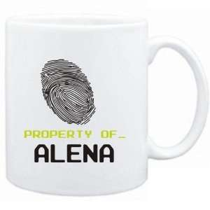 Mug White  Property of _ Alena   Fingerprint  Female Names