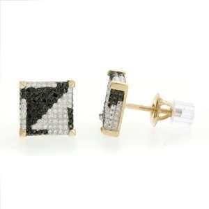 Black & White Diamond Square Cube Mens Stud Earrings in