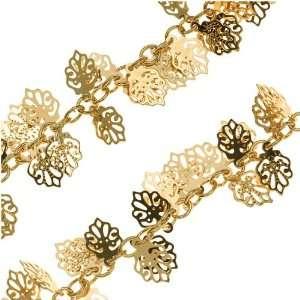 Bright Gold Plated 10mm Birch Leaf Charm Chain   Bulk By