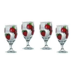of 4 Hand Painted Water Glasses with Apple Design. Signed by Artisan