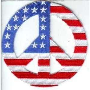 Peace Sign White US FLAG Embroidered Nice Vest Patch