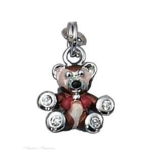 Silver 3D Enamel Little Brown Bear Cubic Zirconia Paws Charm Jewelry