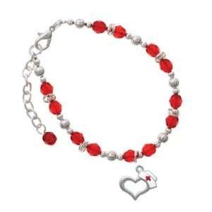 Open Heart with Nurse Hat Red Czech Glass Beaded Charm Bracelet