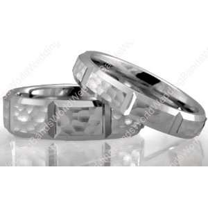 Diamond Cut His and Her Wedding Ring Set 6.00mm and 4.00mm