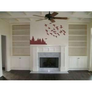 Goin South Flock of Ducks Flying Over Trees Wall Mural Decals Decal