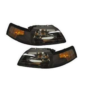 Ford Mustang Headlight Set Black With Xenon Bulbs Driver