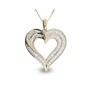 Jewelers Diamond 2 Row Heart Pendant in 10K Gold 1/2 CT. T.W. hearts