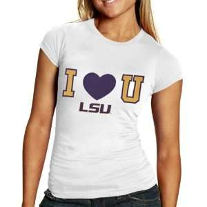 NCAA LSU Tigers Ladies White I Heart You T shirt Sports & Outdoors