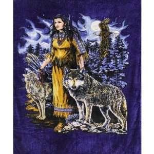 Super Plush Indian Maden w/Wolf Queen Mink Style Blankets 79x95