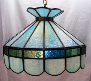 Vintage Tiffany Style Slag Stained Glass Hanging Lamp Swag Light Blue