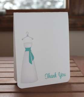 Wedding Dress Bridal Shower Thank You Card, Personalized Note Card