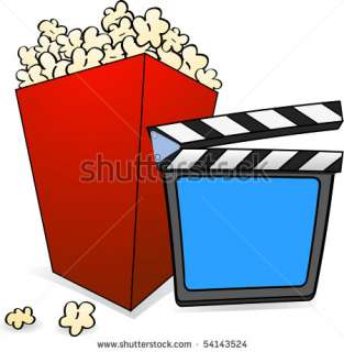 Box Of Popcorn With A Clapper Board In A Cartoon Style Stock Vector
